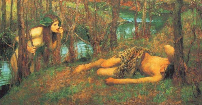 John William Waterhouse A Naiad or Hylas with a Nymph